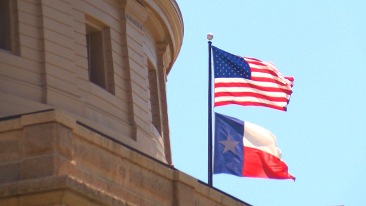 Texas Capitol Building with Flags