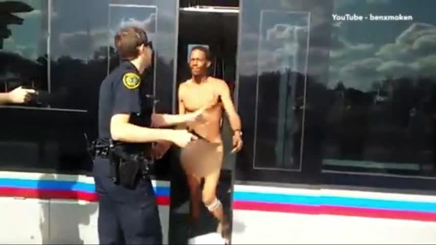 Naked Man Attacks Police