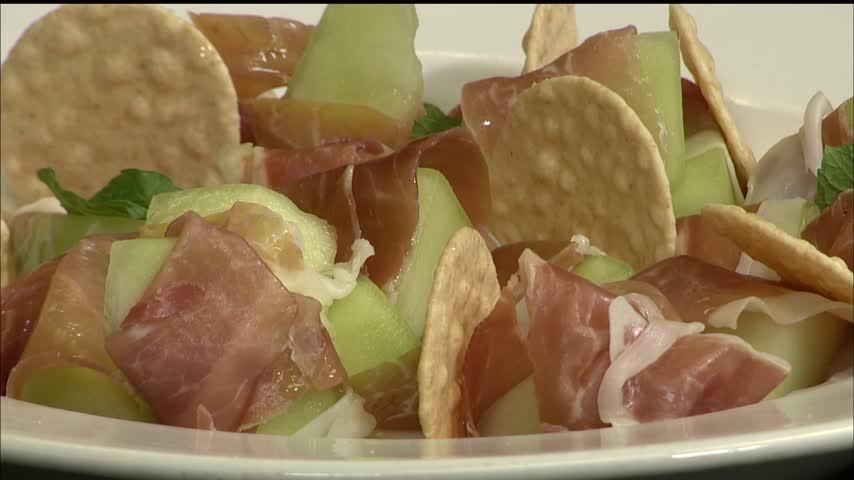 Prosciutto Wrapped Melon with Mojito Glaze_63466334
