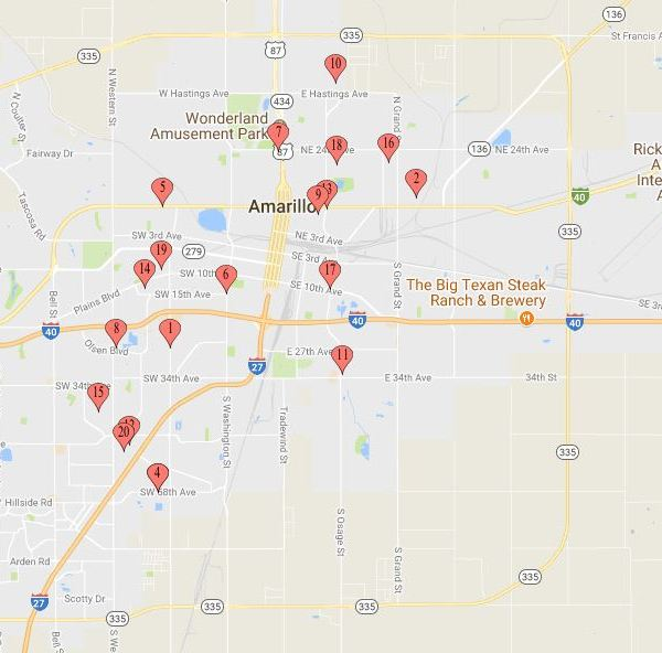 Locations of Auto Thefts in Amarillo