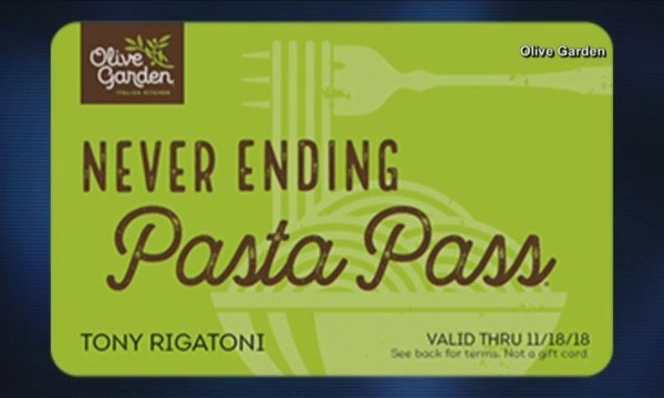Consumer News - Olive Garden's Pass Back Up For Sale