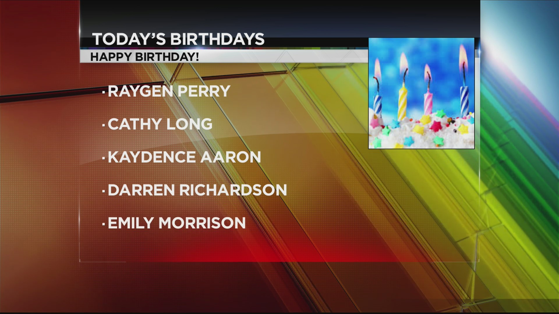 Today's Birthdays 10/24/2018