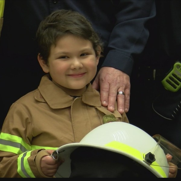 Local girl with leukemia becomes fire chief for a day