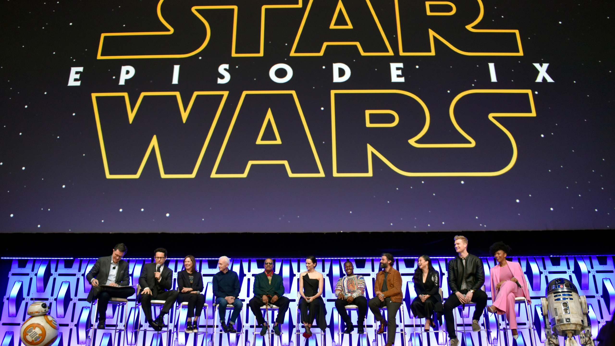 Stephen Colbert, J.J. Abrams, Kathleen Kennedy, Anthony Daniels, Billy Dee Williams, Daisy Ridley, John Boyega, Oscar Isaac, Kelly Marie Tran, Joonas Suotamo, Naomi Ackie