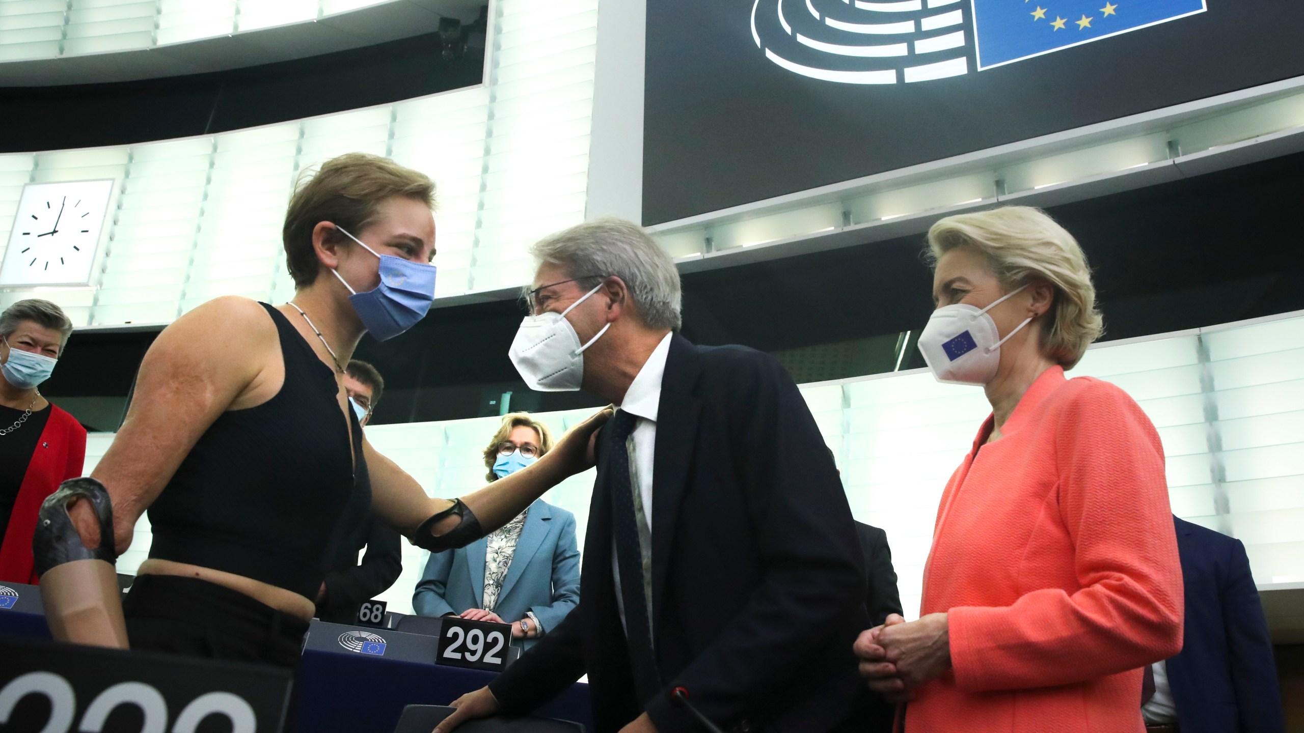EU Commission President von der Leyen speaks at European Parliament in Strasbourg